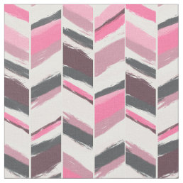 Modern pink gray boho herringbone chevron pattern fabric