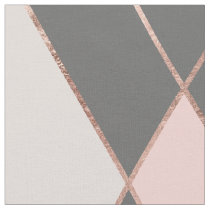 Modern pink gray color block rose gold stripes fabric