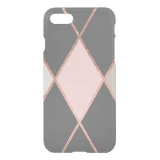 Modern pink gray color block rose gold stripes iPhone 7 case