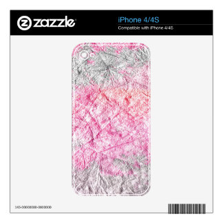 Modern pink gray watercolor grunge paper decals for iPhone 4S