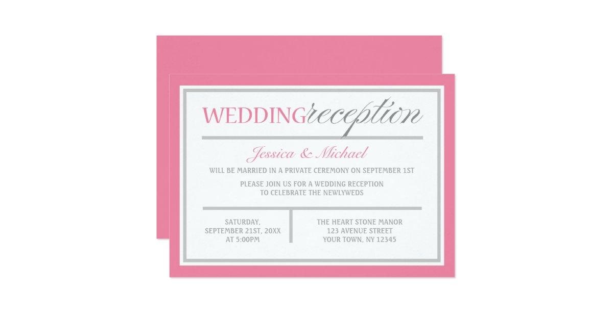 Modern Pink Amp Gray Wedding Reception Invitation