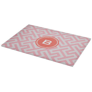 Modern pink greek key geometric patterns monogram cutting boards