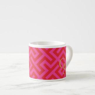Modern pink greek key geometric patterns monogram espresso cup
