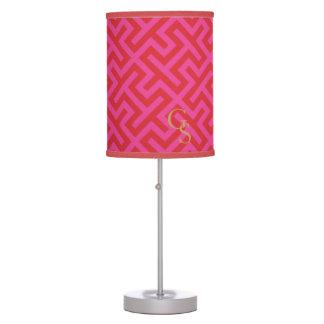 Modern pink greek key geometric patterns monogram desk lamps