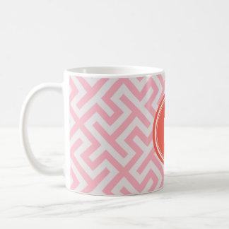 Modern pink greek key geometric patterns monogram coffee mug