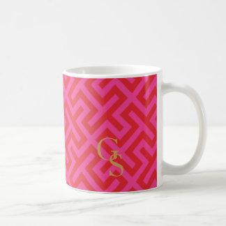 Modern pink greek key geometric patterns monogram mug