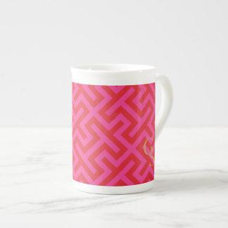 Modern pink greek key geometric patterns monogram bone china mug