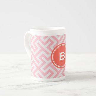 Modern pink greek key geometric patterns monogram porcelain mug