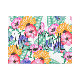 Modern pink green hand painted floral watercolor doormat