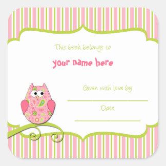 Modern Pink & Green Owl Paisley Book Plates Sticker