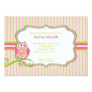 Modern Pink & Green Paisley Owl Baby Shower Invite