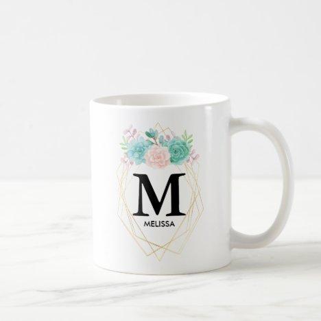 Modern Pink & Green Watercolor Succulents Monogram Coffee Mug