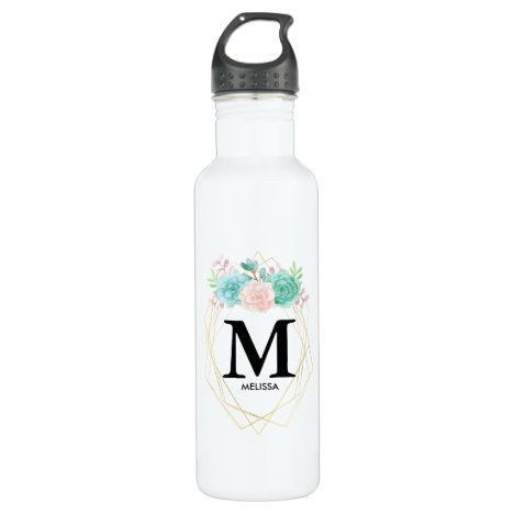 Modern Pink & Green Watercolor Succulents Monogram Stainless Steel Water Bottle