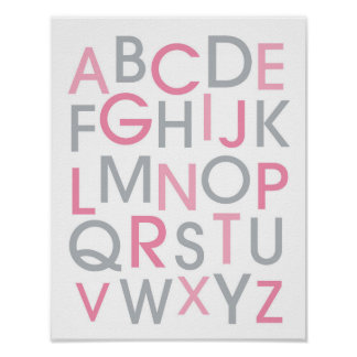 Modern Pink & Grey Alphabet Nursery Wall Art Print