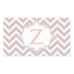 Modern pink, grey chevron monogram personalized business card templates