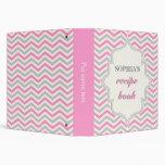 Modern pink, grey chevron zigzag recipe binder binder