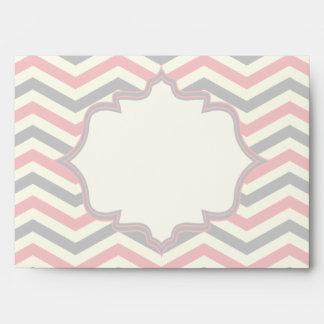 Modern pink, grey chevron zigzag wedding envelope
