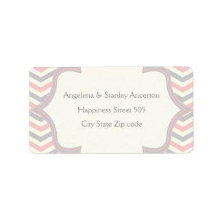 Modern pink, grey chevron zigzag wedding label