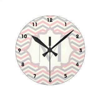 Modern pink, grey, ivory chevron pattern custom round wall clock