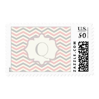Modern pink, grey, ivory chevron pattern custom postage