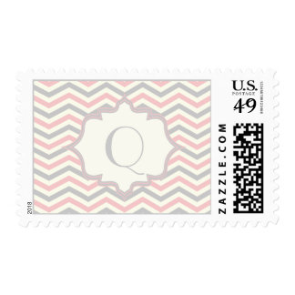 Modern pink, grey, ivory chevron pattern custom postage stamps