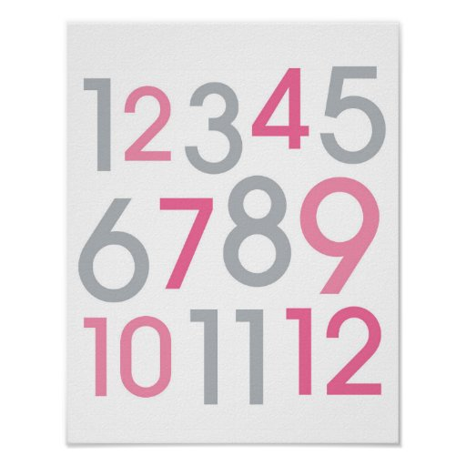 Modern Pink & Grey Number Nursery Wall Art Print