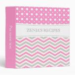 Modern pink, grey, white chevron & polka dot 3 ring binder