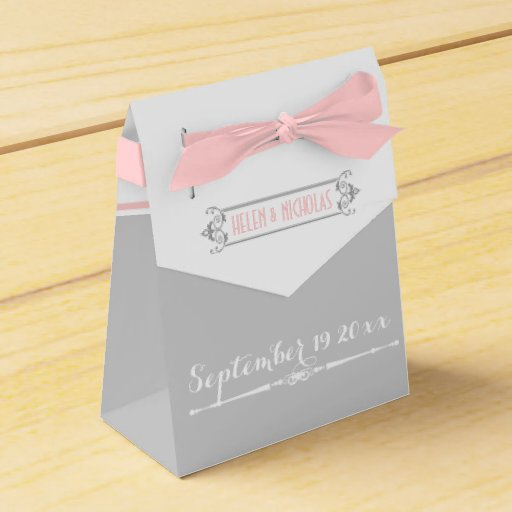 Wedding Favor Boxes White : Modern pink grey white vintage wedding favor box zazzle