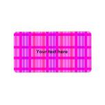 Modern pink grid design with a violet stripes address label