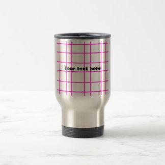 Modern pink grid pattern 15 oz stainless steel travel mug