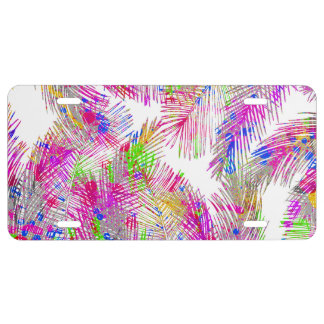 Modern pink hand painted watercolor palm trees license plate