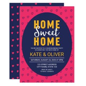 Modern Pink Hearts Home Sweet Home Housewarming Invitation