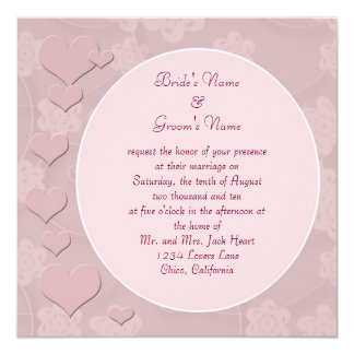 Modern Pink Hearts Wedding Invitation