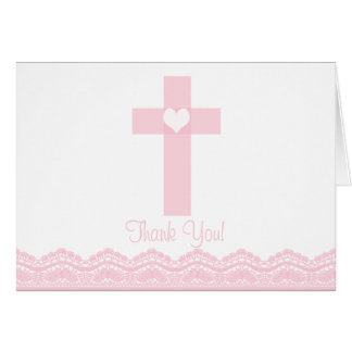 Modern Pink Lace Cross Religious Thank You Note Greeting Cards