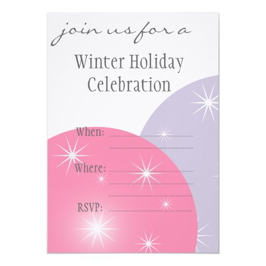Modern Pink Lilac Winter Holiday Party Ornaments I Card