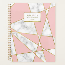 Modern Pink Marble and Gold Geometric Design Planner