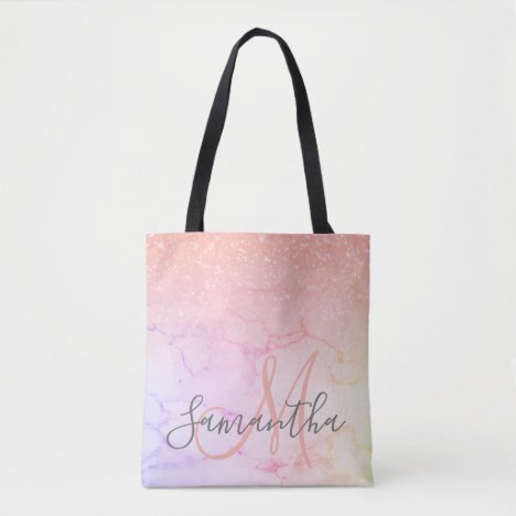Modern Pink Marble & Glitter Sparkles  Name Tote Bag