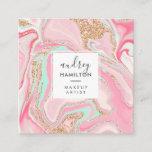 """Modern pink marble rose gold elegant makeup artist square business card<br><div class=""""desc"""">Modern pink marble rose gold elegant makeup artist</div>"""