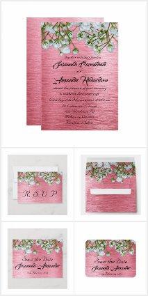 Modern Pink Metallic and White Roses Wedding