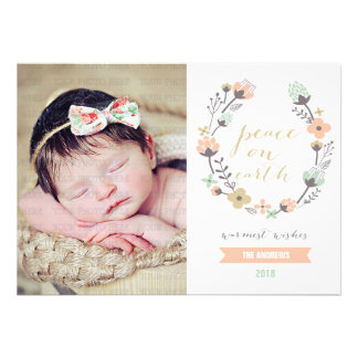 Modern Pink Mint Holiday Floral Custom Photo Card