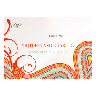 Modern Pink Mint Taupe Orange Persimmon Wedding Business Cards