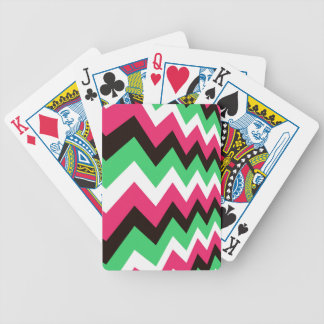 Modern Pink Mix Chevrons Bicycle Playing Cards