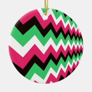 Modern Pink Mix Chevrons Ceramic Ornament