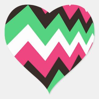 Modern Pink Mix Chevrons Heart Sticker