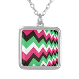 Modern Pink Mix Chevrons Square Pendant Necklace