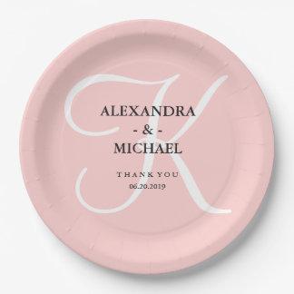 modern pink monogram for bridal shower paper plate