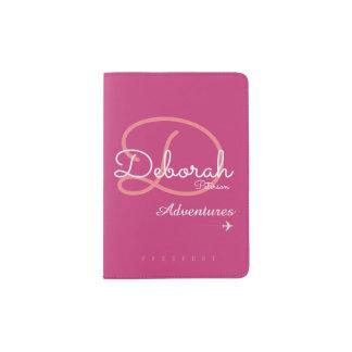 modern pink monogram for the elegant traveler passport holder