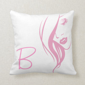 Modern Pink Monogram Girly Bedroom Salon Pillow