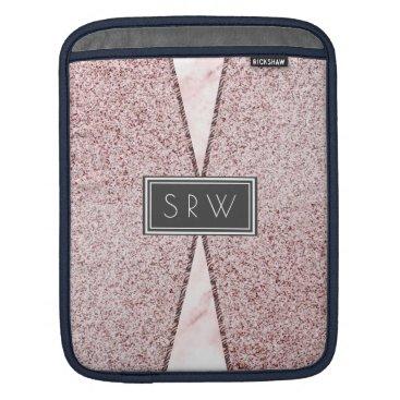 Modern Pink  Monogram Granite Marble Professional iPad Sleeve