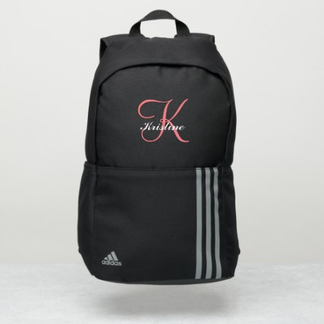 Modern pink monogram script name adidas backpack